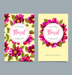 elegant floral collection with isolated flowers vector image