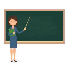 female teacher standing near of blackboard vector image vector image