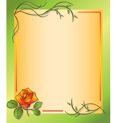 floral frame with rose vector image vector image