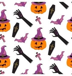 Halloween witch pumpkin seamless pattern vector