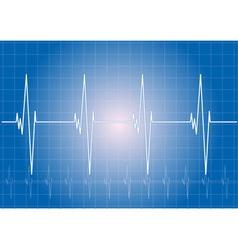 heart rhythm on the blue display vector image vector image