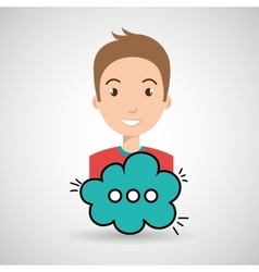 man cartoon cloud speack chat vector image