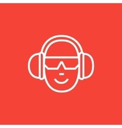 Man in headphones line icon vector image