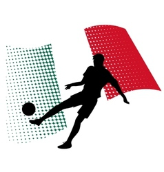 Mexico soccer player against national flag vector