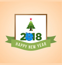 New year postcard with blue ornament and green vector