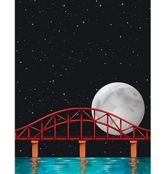 Scene with fullmoon over the river vector