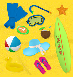 set of summer beach items diving surfing and vector image vector image