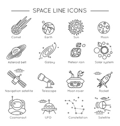 Space Universe Line Icon Set vector image vector image