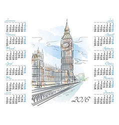 Template of 2016 calendar with Big Ben vector image