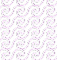 White colored paper pink spiral waves vector