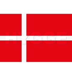 Word hygge on denmark flag vector