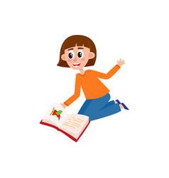 young woman kindergarten teacher reading a book vector image vector image