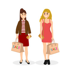 young women on a shopping sale with a bag vector image vector image
