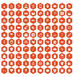 100 woman icons hexagon orange vector