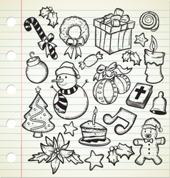 Set of cute christmas doodles vector