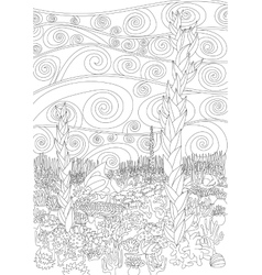 Underwater seascape for coloring vector