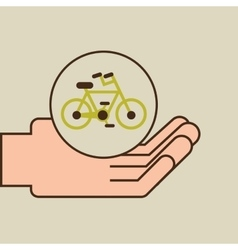 Hands care environment bike transport vector