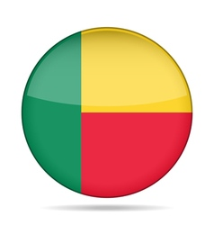 Flag of Benin Shiny round button vector image