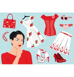 Woman choose clothes vector
