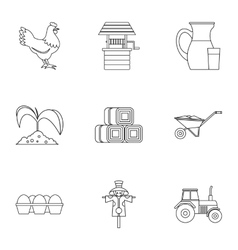 Agriculture icons set outline style vector image