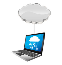 cloud storage connected with tech laptop device vector image