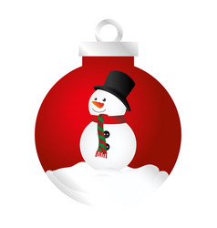color silhouette of garland with snowman vector image