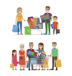 Groups of people standing with bags and packs vector