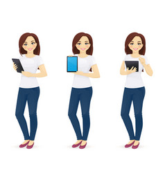 woman in jeans with tablet vector image