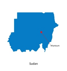 Detailed map of sudan and capital city khartoum vector