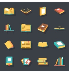 Flat isometric book icons symbols logos isolated vector
