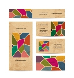 Business cards on grunge paper stained glass vector image