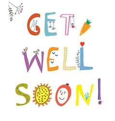 Get well soon card with funny lettering and vector