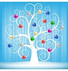 Christmas toys and tree vector image