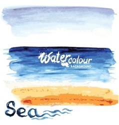 Seascape watercolor style vector