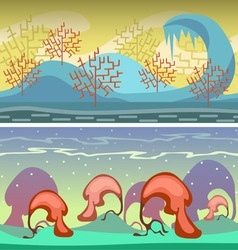 Cartoon seamless landscape endless background with vector
