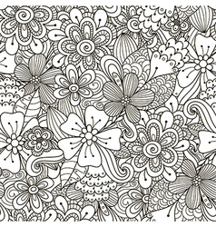 Floral doodle black and white seamless pattern vector