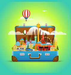 Around the world concept modern cityscape travel vector