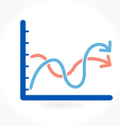Arrow growing upward on graph vector