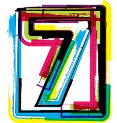 Colorful grunge font number 7 vector