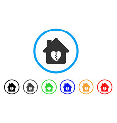 Divorce house heart rounded icon vector