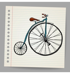 Doodle old bicycle vector image