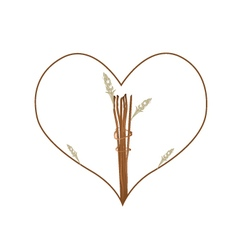 Dry Flowers and Leaves in A Heart Shape Frame vector image vector image