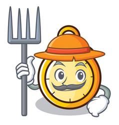 Farmer chronometer character cartoon style vector
