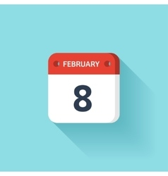 February 8 isometric calendar icon with shadow vector