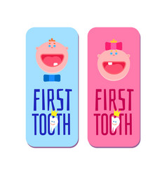 First tooth for boys and girls banners vector