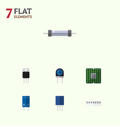 Flat icon appliance set of receptacle transducer vector