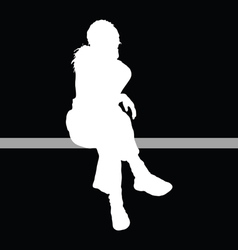girl sitting with black background vector image vector image