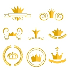 Gold crown logos and badges clip art set vector