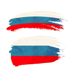grunge brush stroke with russia national flag on vector image
