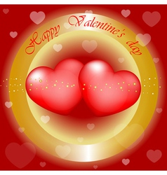 Happy Valentines Day gold and red background vector image
